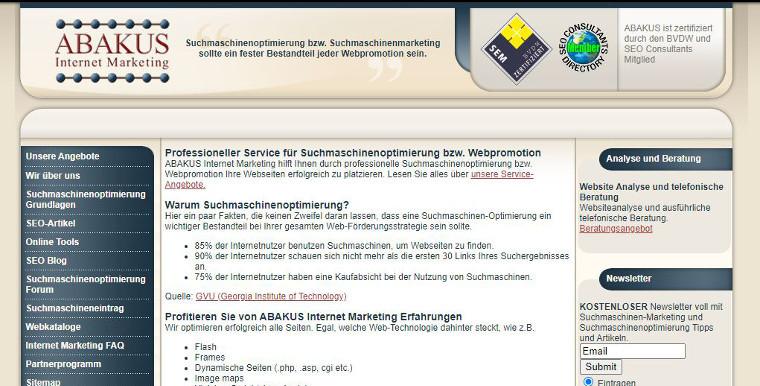 ABAKUS Website 2006 - Screenshot