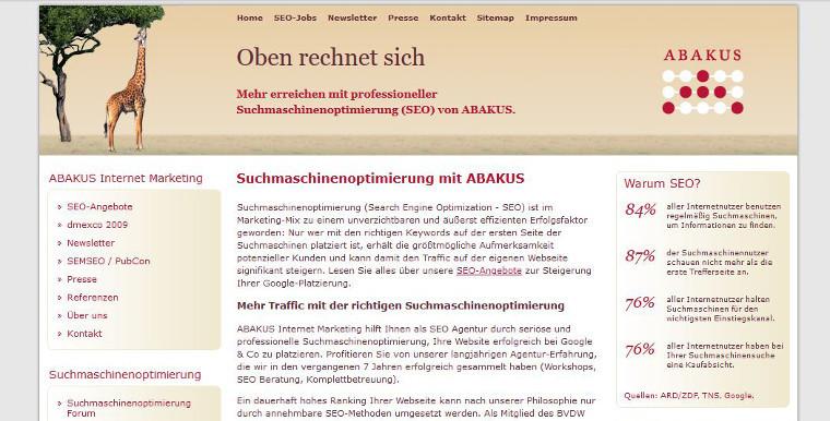 ABAKUS Website 2009 - Screenshot