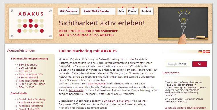 ABAKUS Website 2015 - Screenshot