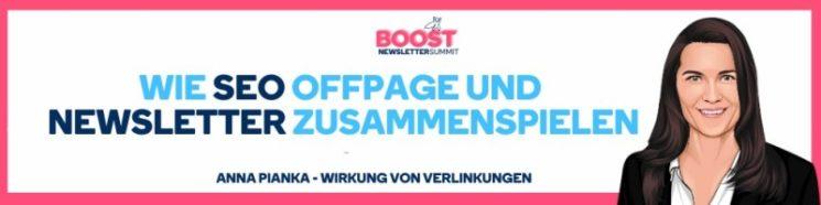 Newsletter Boost Summit SEO OffPage Workshop mit Linkbuilding Expertin Anna Pianka