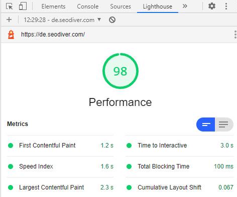 Screenshot Lighthouse nachher