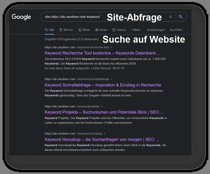 Screenshot Site-Abfrage